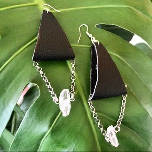 Jewelry - Up-Cycled Black Leather & Quartz Crystal Earrings